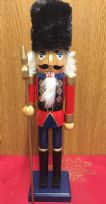 Hand Painted Wooden Nutcracker 38 cm Traditional Christmas Ornament with Bearskin Hat